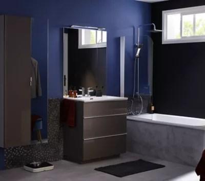 meuble de salle de bains haut marron glace cooke lewis pamili 80 cm