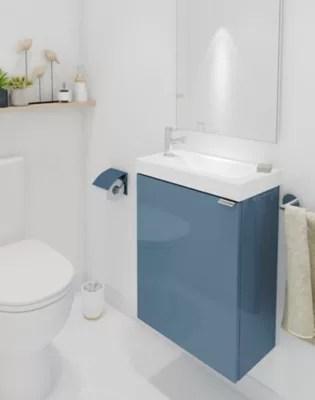 Meuble Lave Mains A Suspendre Goodhome Imandra Bleu L 44 X H 55 Cm Castorama