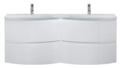 Meuble Sous Vasque Cooke Lewis Blanc Vague 138 Cm Plan Double Vasque En Resine Castorama