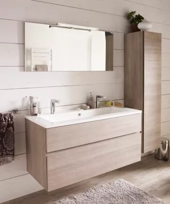 meuble sous vasque cooke lewis calao aspect chene clair 120 cm plan vasque en resine