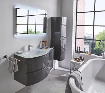 meuble sous vasque cooke lewis gris anthracite vague 104 cm complement droit plan vasque en resine