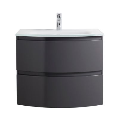 Meuble Sous Vasque Cooke Lewis Gris Anthracite Vague 70 Cm Plan Vasque En Verre Castorama