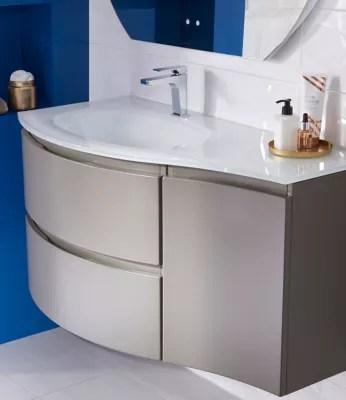 Meuble Sous Vasque Cooke Lewis Taupe Vague 104 Cm Complement Droit Plan Vasque En Verre Castorama