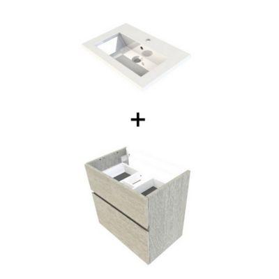 meuble sous vasque faible profondeur cooke lewis calao aspect chene clair 60 cm plan vasque en resine