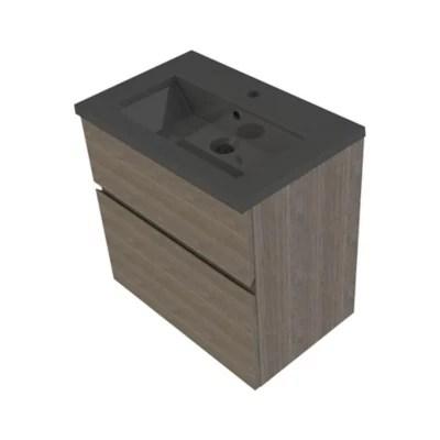 meuble sous vasque faible profondeur a suspendre cooke lewis calao aspect chene fume 60 cm plan vasque en resine noir