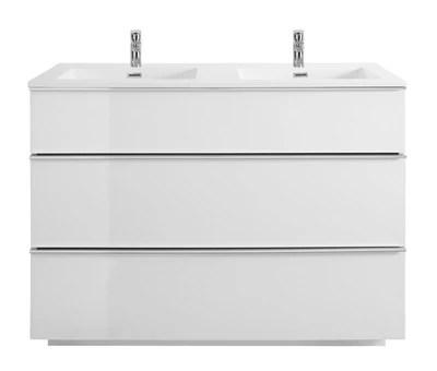 meuble sous vasque a poser cooke lewis pamili blanc 120 cm plan double vasque
