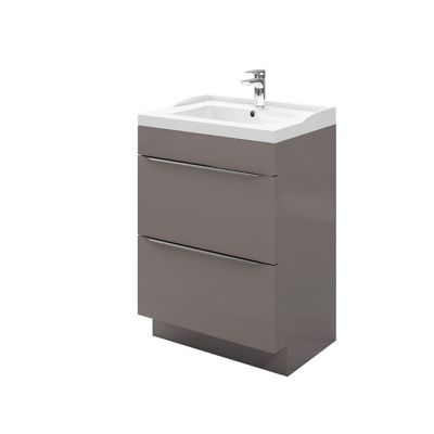 meuble sous vasque a poser goodhome imandra gris taupe 60 cm plan vasque lana
