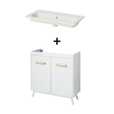 Meuble Sous Vasque A Poser Goodhome Ladoga Blanc 80 Cm Plan Vasque Towan Castorama