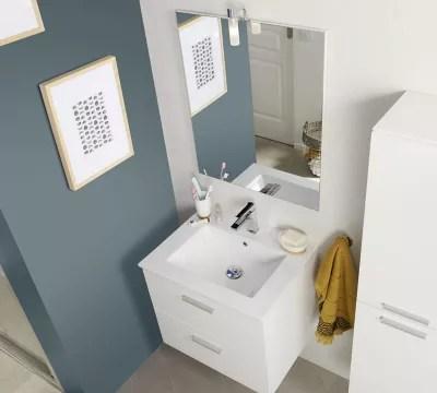 meuble sous vasque a suspendre cooke lewis slapton blanc 60 cm plan vasque en ceramique