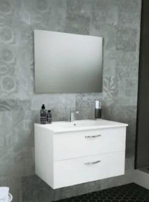 meuble sous vasque a suspendre plan vasque paulina 80 cm miroir