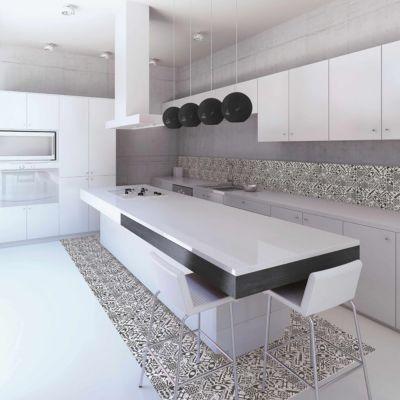 mosaique carreaux de ciment blanc et noir 30 x 30 cm