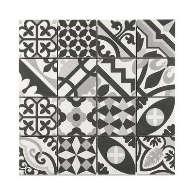 Mosaique Carreaux De Ciment Blanc Et Noir 30 X 30 Cm Castorama