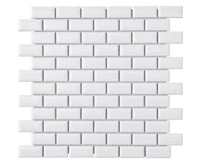 mosaique mur mini metro blanc 30 x 30cm