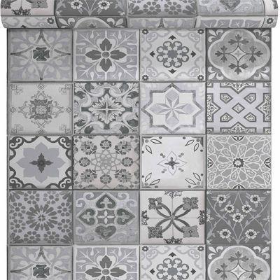 papier peint vinyle sur intisse carreau de ciment gris mat