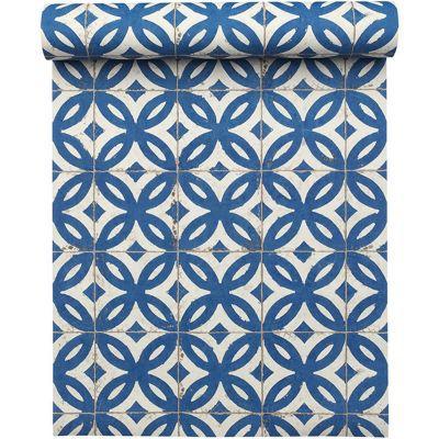 papier peint vinyle sur intisse mosaique bleu