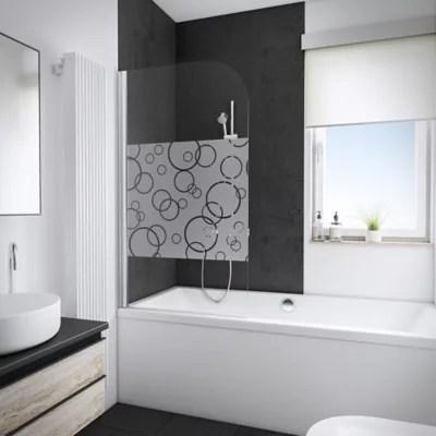 pare baignoire 80 x 140 cm schulte paroi de baignoire 1 volet pivotant verre transparent anticalcaire cercles