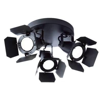 plafonnier 3 spots hollywood noir mat d 22cm 50w
