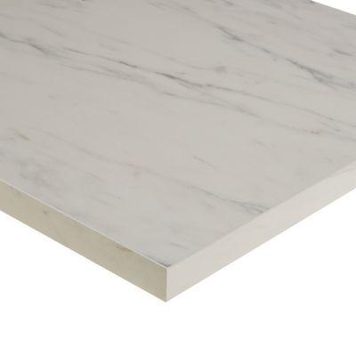 plan de travail stratifie aspect pierre decor marbre blanc 208 x 65 cm ep 38 mm vendu a la piece