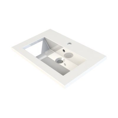 plan vasque en resine blanc faible profondeur cooke lewis blanc calao 60 cm