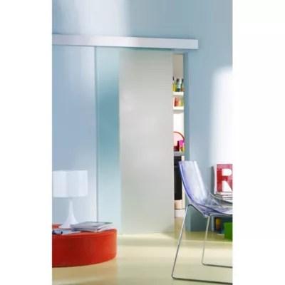 porte coulissante verre depoli geom kidal h 204 x l 93 cm