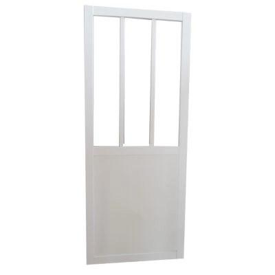 porte coulissante vitree esprit atelier blanc h 204 x l 83 cm