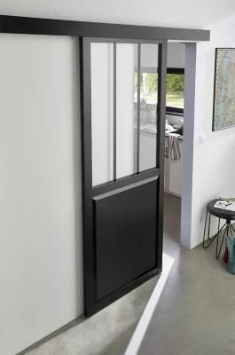 porte coulissante vitree esprit atelier noire h 204 x l 83 cm systeme en applique