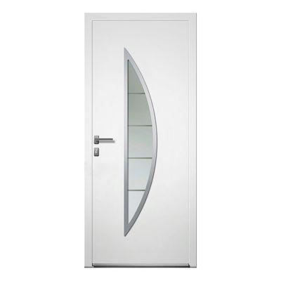 porte d entree aluminium 4 alu lea blanc 80 x h 215 cm poussant droit