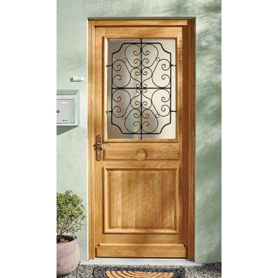 porte d entree bois chene split 90 x h 215 cm poussant gauche