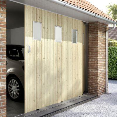 porte de garage coulissante sapin hublots l 240 x h 200 cm en kit