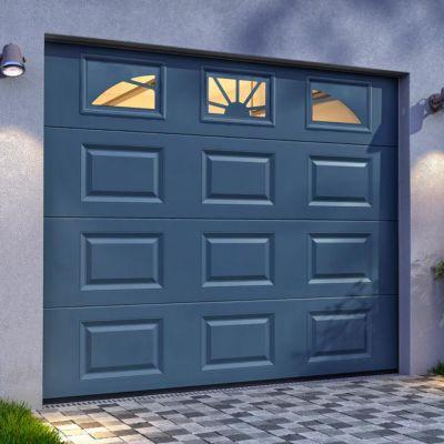 Porte De Garage Sectionnelle Hublots Grise L 240 X H 200 Cm Pre Montee Castorama