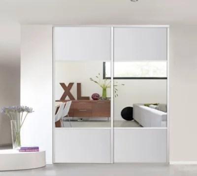 porte de placard coulissante blanche miroir form valla 77 2 x 245 6 cm