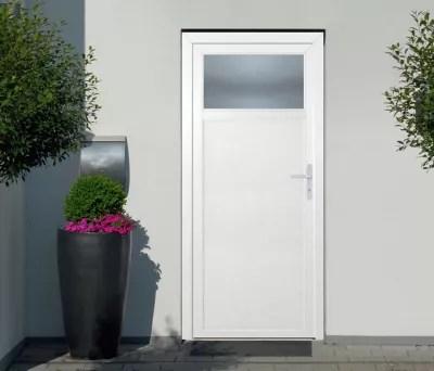 porte de service 1 4 vitree pvc 90 x h 205 cm poussant gauche