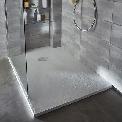 receveur de douche a poser recoupable resine blanc cooke lewis piro 90 x 90 cm