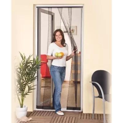 rideau moustiquaire de porte en pvc gris 100 x h 220 cm