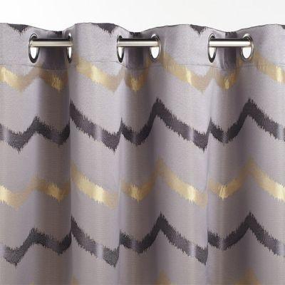 rideau zag gris jaune 140 x 240 cm