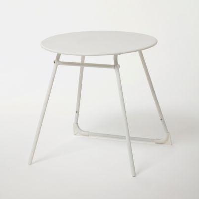 table basse de jardin acier ronde blooma janeiro blanche o50 cm
