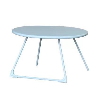 table basse de jardin acier ronde blooma janeiro blanche o70 cm
