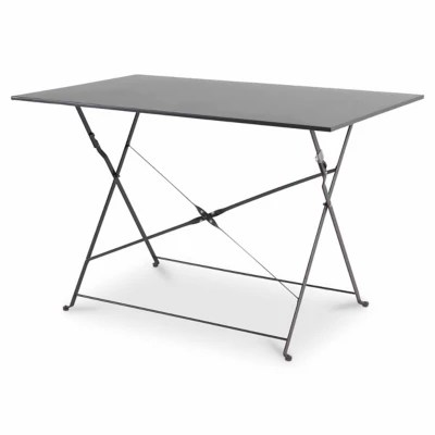 table de jardin en metal saba anthracite pliante 110 x 70 cm