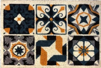tapis coco blanchi imprime carreau andalousie 40 x 60 cm