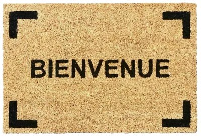 tapis coco ecru imprime bienvenue 40 x 60 cm