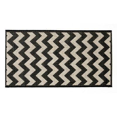 tapis graphique noir et ecru 60 x 110 cm