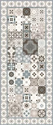 tapis vinyle carreaux de ciment beige et bleu 49 5 x 116 cm