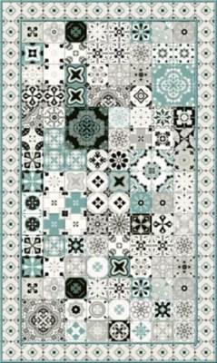 tapis vinyle carreaux de ciment beige et bleu 49 5 x 83 cm