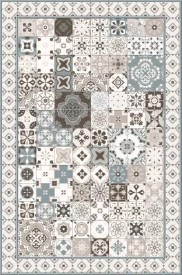tapis vinyle carreaux de ciment beige et bleu 98 x 148 5 cm