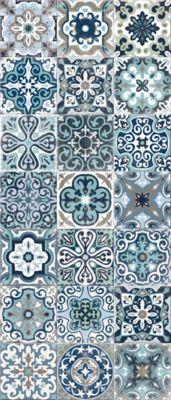 tapis vinyle carreaux de ciment bleu 49 5 x 116 cm