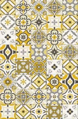tapis vinyle carreaux de ciment jaune moutarde 98 x 148 5 cm