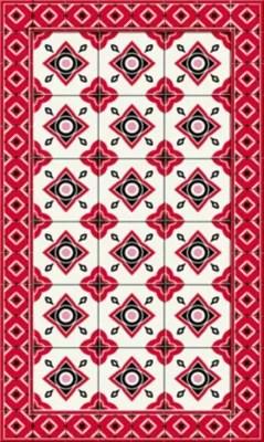 tapis vinyle carreaux de ciment rouge 49 5 x 83 cm