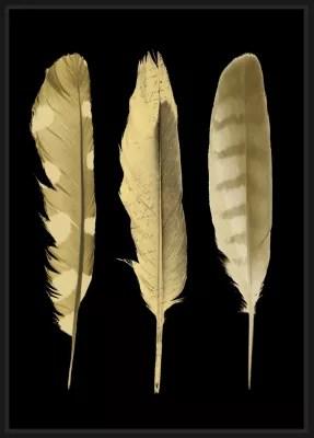 toile plumes or et noir 65 x 92 5 cm