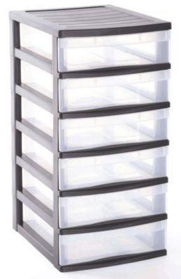 tour de rangement 6 tiroirs en plastique optima