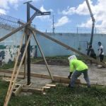 Teenage prisoners build their own basketball court